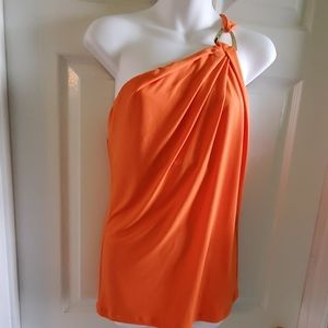 MICHAEL KORS One Shoulder Orange Sleeveless Top